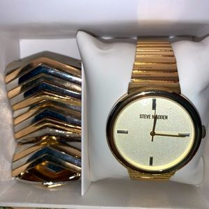 Steve Madden Watch & Expandable Two Tone B…